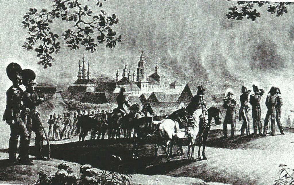 Перед пылающей Вязьмой 30 августа 1812 года Гравюра Фабер дю Фора
